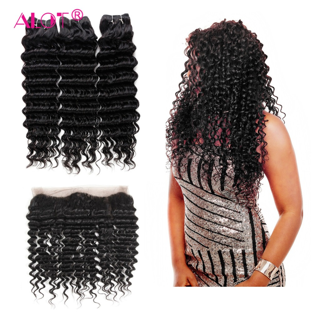 Alot Hair Deep Wave Bundles With Frontal Closure Brazilian Human Hair Non Remy 13*4 Ear To Ear Lace Frontal With Bundles
