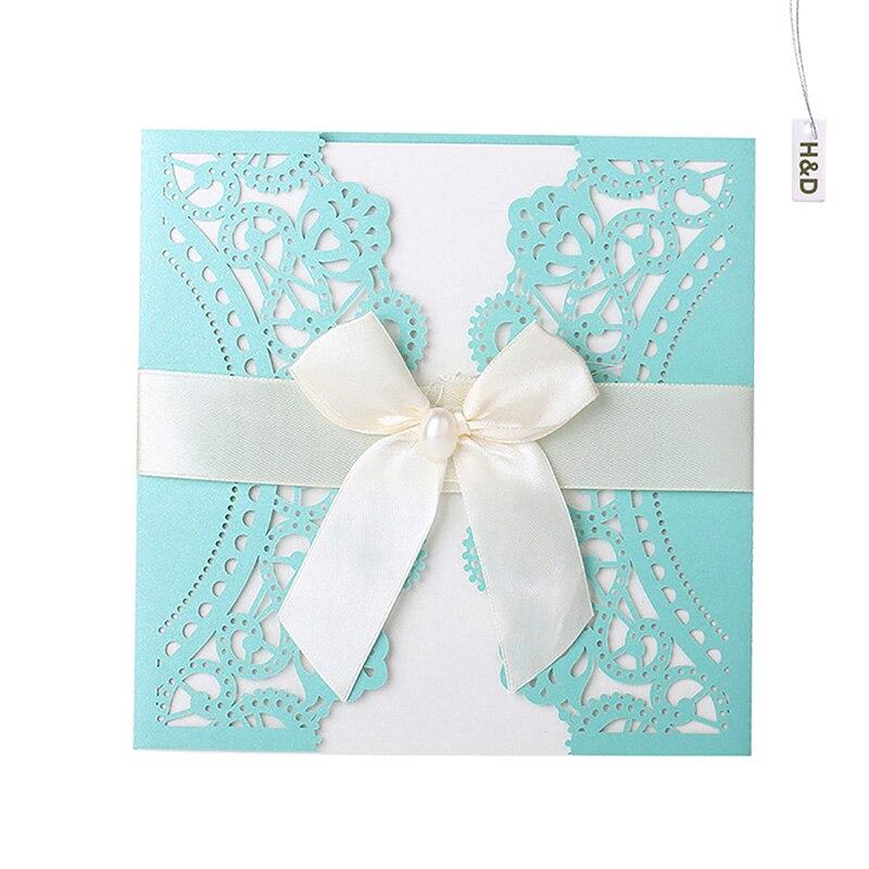 12PCS 5Color Laser Flora Printable 250g Wedding Invitation Cards Kit  Bowknot Party Souvenirs Wedding Decor Convite
