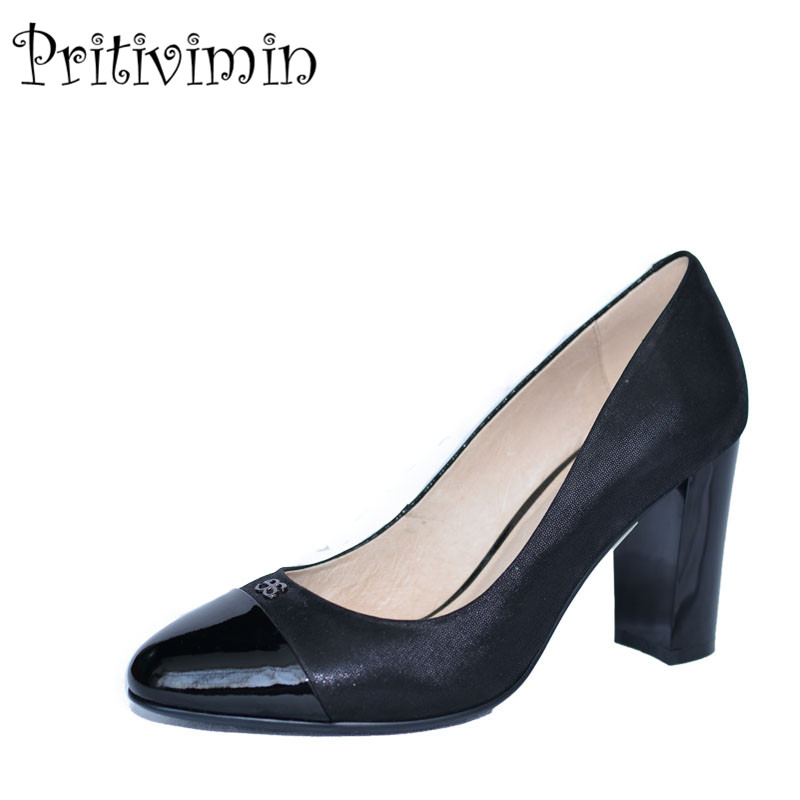 2018  new ladies black pointed toe high heel handmade shoes women patent leather girls fashion designer pumps Pritivimin FN13 серьги коюз топаз серьги т242024722