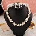Глины ручной работы цветок жемчужное ожерелье серьги Свадебные украшения устанавливает высококлассные Корейский оптовая трех частей свадебные ювелирные наборы