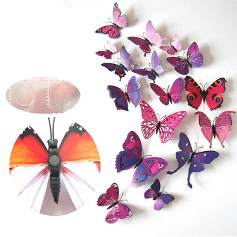 12Pcs DIY Lifelike 3D Multicolor Butterfly Magnet Fridge Magnet Wall Stickers Kids Baby  ...