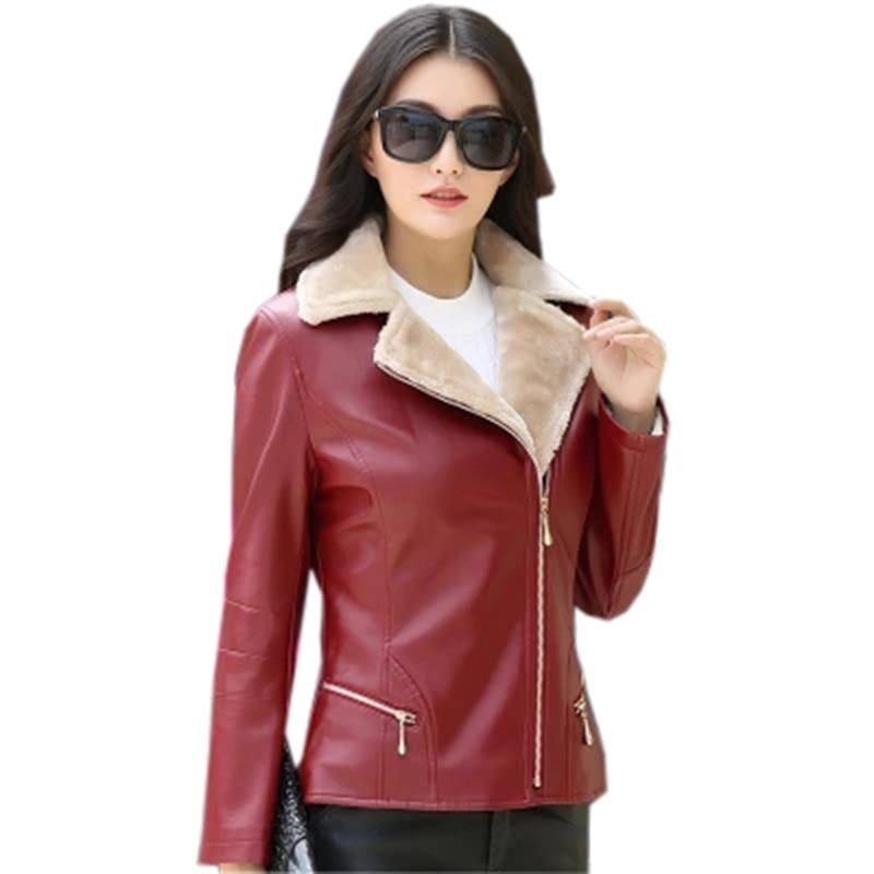 FleißIg Winter Frauen Leder Jacken Mode Dünne Kurze Verdicken Warme Faux Leder Mäntel Outwear Weibliche Casual Leder Mäntel Fp1505 Haus & Garten