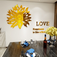 Creative ins sunflower DIY Children's room bedroom home living room TV background wall decoration 3D acrylic wall stickers creative ins cartoon car diy children s room bedroom home living room tv background wall decoration 3d acrylic wall stickers