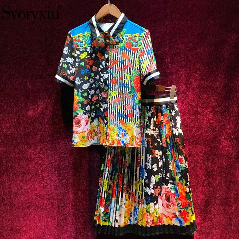 Kadın Giyim'ten Kadın Setleri'de Svoryxiu Moda Pist Vintage Şerit Çiçek Baskı Etek Takım Elbise kadın Yüksek Kaliteli Yaz Kadın Plaj Tatil Iki Parça Set'da  Grup 1