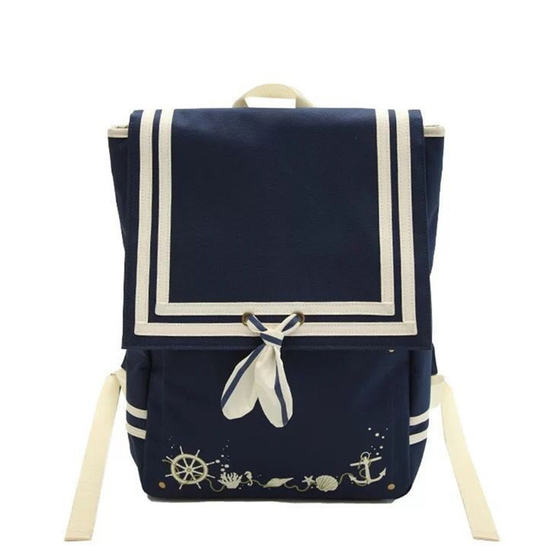 Lolita Japanese JK Lady Axes Femme Navy Bow Tie Backpack Bag Cospaly Students Women Girls Street Show Bag