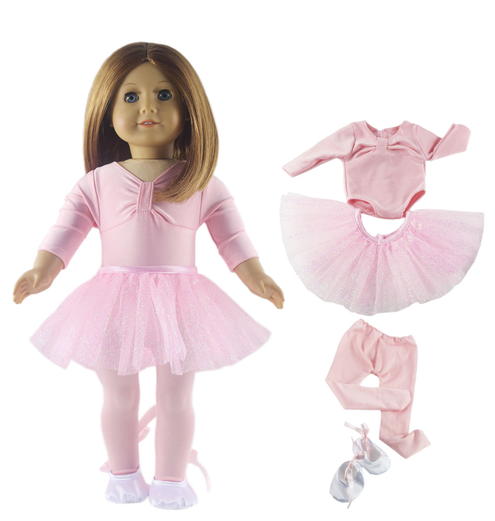 18 Inch Doll Clothes fits American Girl White Ballerina Dress and Slippers NEW