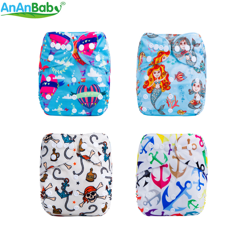AnAnBaby Digital Meraid Reusable Pocket Diaper Cover Waterproof Baby Cloth Diapers ECO Cloth Nappy Suit 0-3years 3-13kg F Series