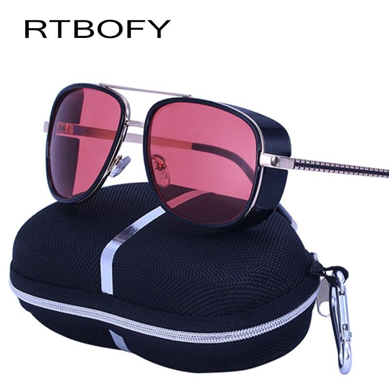2017 IRON MAN 3 Steampunk Sunglasses Men square Mirror Brand Designer Sunglass Retro Vintage Sun glasses