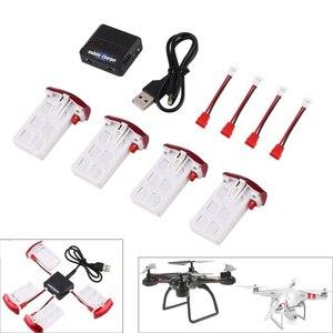 Image 1 - 4 ชิ้น 3.7 โวลต์ 500 มิลลิแอมป์ชั่วโมง 25C Lipo แบตเตอรี่ + 1 ชิ้น 4 พอร์ตแบตเตอรี่ชาร์จสำหรับ Syma X5UW X5UC RC Quadcopter Drone อะไหล่