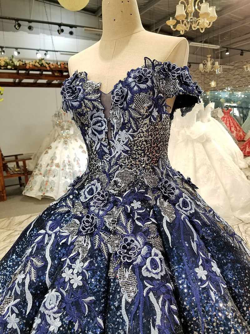 6c90aa3c846e ... 2018 Ball Gown Elegant Prom Dresses Long With Beaded Sweetheart Tulle  Navy Blue Dress For Graduation ...