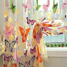 2017 New Fashion Butterfly Print Sheer Window Panel Curtains Room Voile Curtain Divider 204cm x 95cm