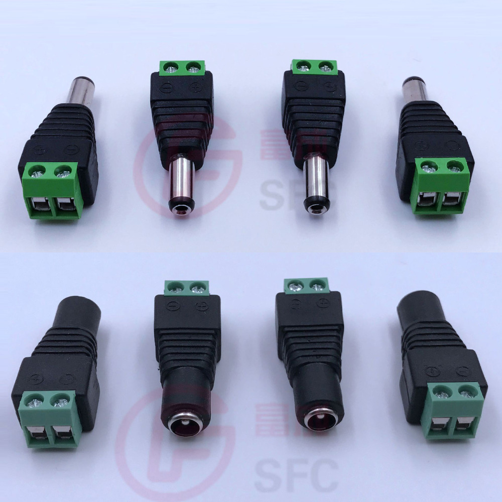 CCTV 2.1 x 5.5mm DC Power Plug Adapter Pack Of 5 Males and 5 Females Connectors