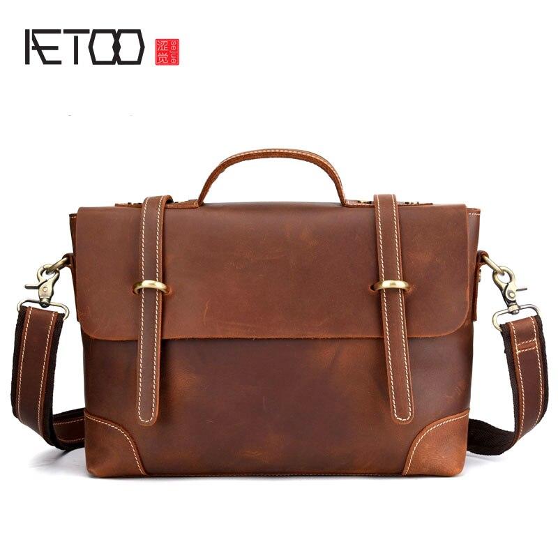 AETOO Leather retro men's bag casual postman portable briefcase shoulder slung European and American tide bag Crazy horse