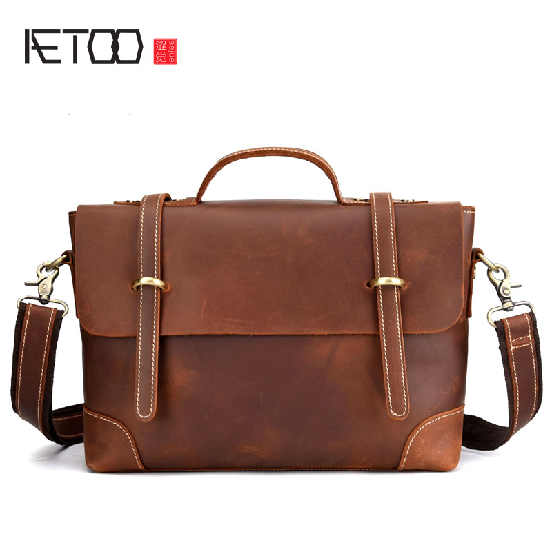 AETOO Leather Retro Men's Bag Casual Postman Portable Briefcase Shoulder Slung European And American Vintage Bag Crazy Horse
