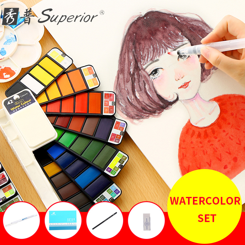 Superior 18/25/33/42Colors Solid Watercolor Paint Set With Paint Brush Portable Watercolor Pigment For Artist Art SuppliesSuperior 18/25/33/42Colors Solid Watercolor Paint Set With Paint Brush Portable Watercolor Pigment For Artist Art Supplies