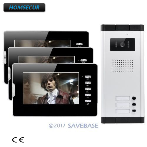 HOMSECUR 7 Wired Video Door Intercom System With Lock Release Button For 3 Apartment