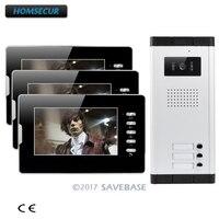 Homsur 7 проводной видеодомофоны системы с освобождение блокировки кнопка для 3 квартира