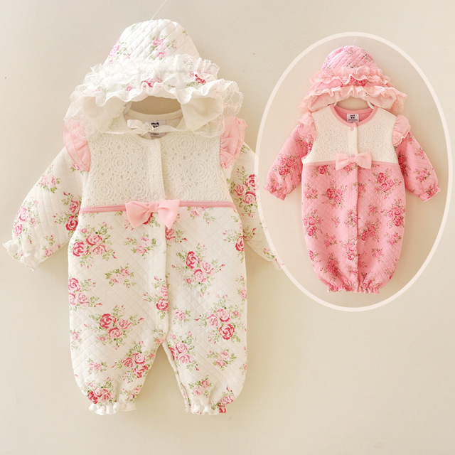 Winter Newborn Baby Girl Clothes Thicken Cotton Coveralls Princess Lace Flowers Infant Dress Jumpsuit Bebe Rompers Baby Clothing