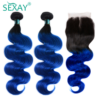 SEXAY Blue Ombre Brazilian Body Wave Bundles With Closure Non Remy Hair Dark Roots Ombre Human Hair Weave 3 Bundles With Closure