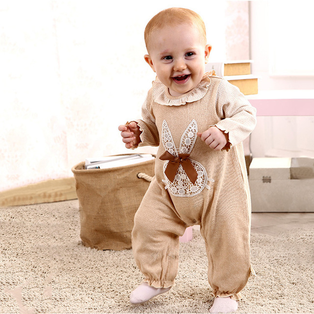 2017 Newborn Baby Rompers Spring Autumn Baby Clothes Organic Cotton Long Sleeve Roupas Bow Tie Infant Jumpsuits Baby Clothing