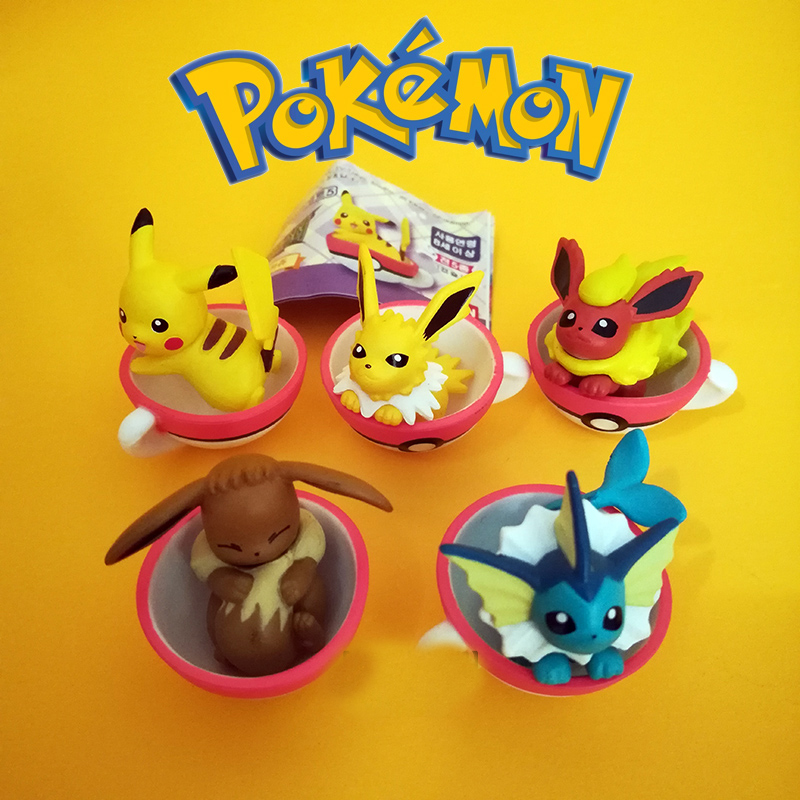 Takara Tomy 5PCS/set Pikachu Eevee Action Figure Pokemon Big Head Doll Sleep Elf Series Ball Children Toy Gifts image