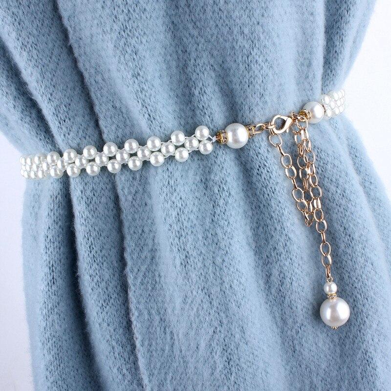 fashion ladies stretch rhinestone pearl chain   belt   metal elastic waist   belts   for women dresses female luxury ceinture femme
