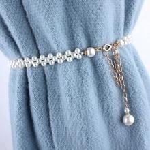 fashion ladies stretch rhinestone pearl chain belt metal elastic waist