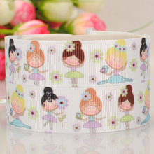 "10yards 7/8 "" 22 mm happy girl cartoon grosgrain ribbon tape DIY handmade hairbow ribbon free shipping"