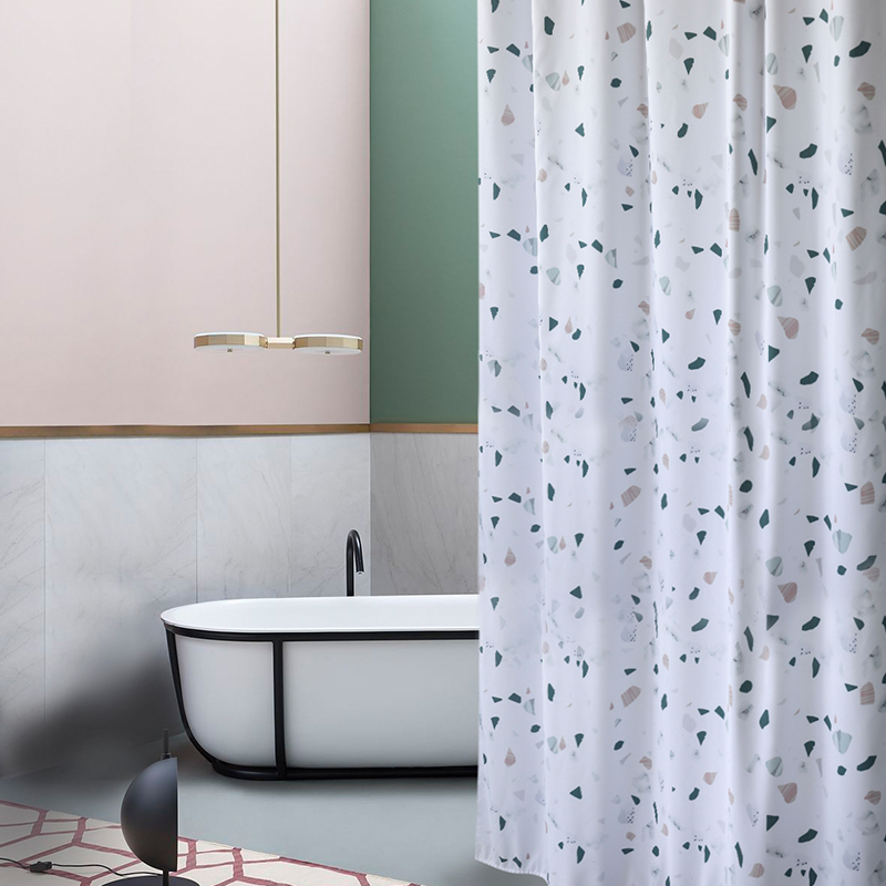 new not in thicken terrazzo print shower curtain bathroom partition waterproof high quality hanging curtain home decoration