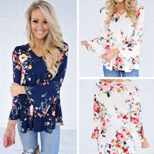 d4b516e71b3aa6 ... Fashion Womens Casual Choker V Neck Floral Shirt Ladies Loose Tops  Blouse Flower Print Brief Women ...