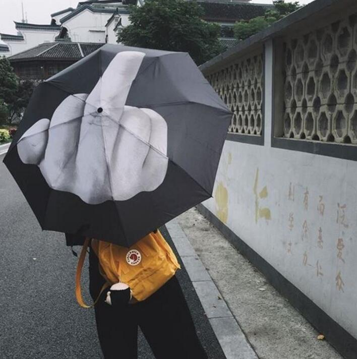 Middle Finger Umbrella Up Yours Umbrella Middle Finger Stylish High Quality Pongee Black Umbrella Birthday Gift Drop Shopping