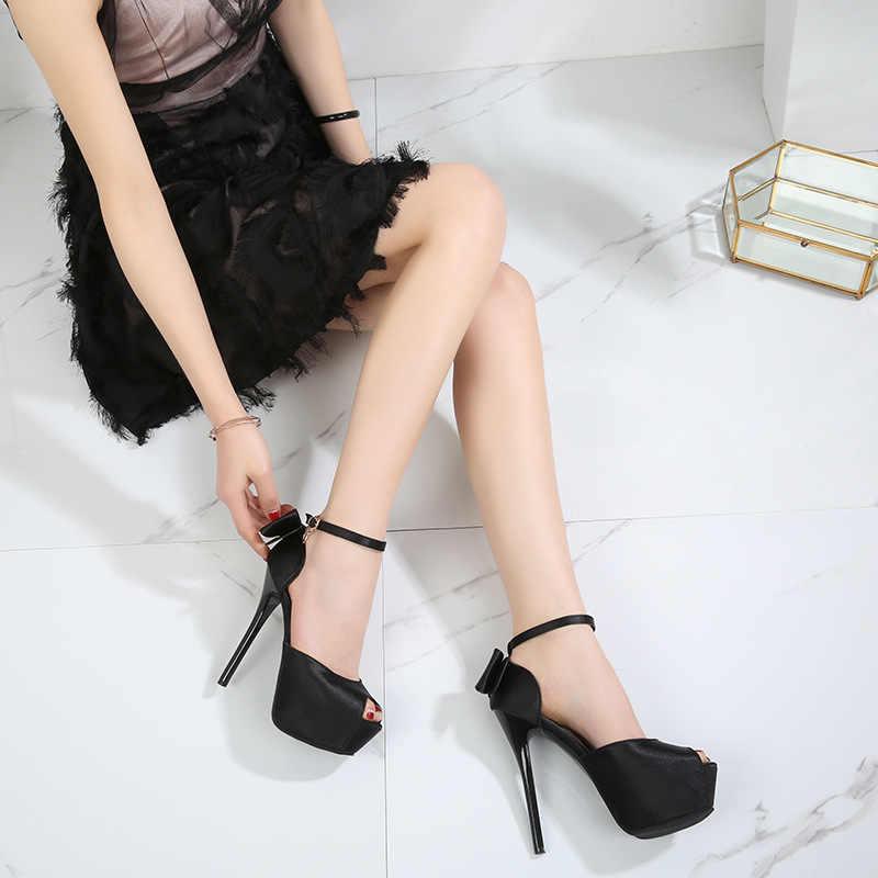Mới Gợi Cảm Bơm Nữ Mùa Hè Peep-Mũi Giày Sandals 4 Cm Nền Tảng Lụa Khóa Dây Giày Cao Gót DỰ TIỆC CƯỚI giày Nữ Đế Bằng Có Nơ