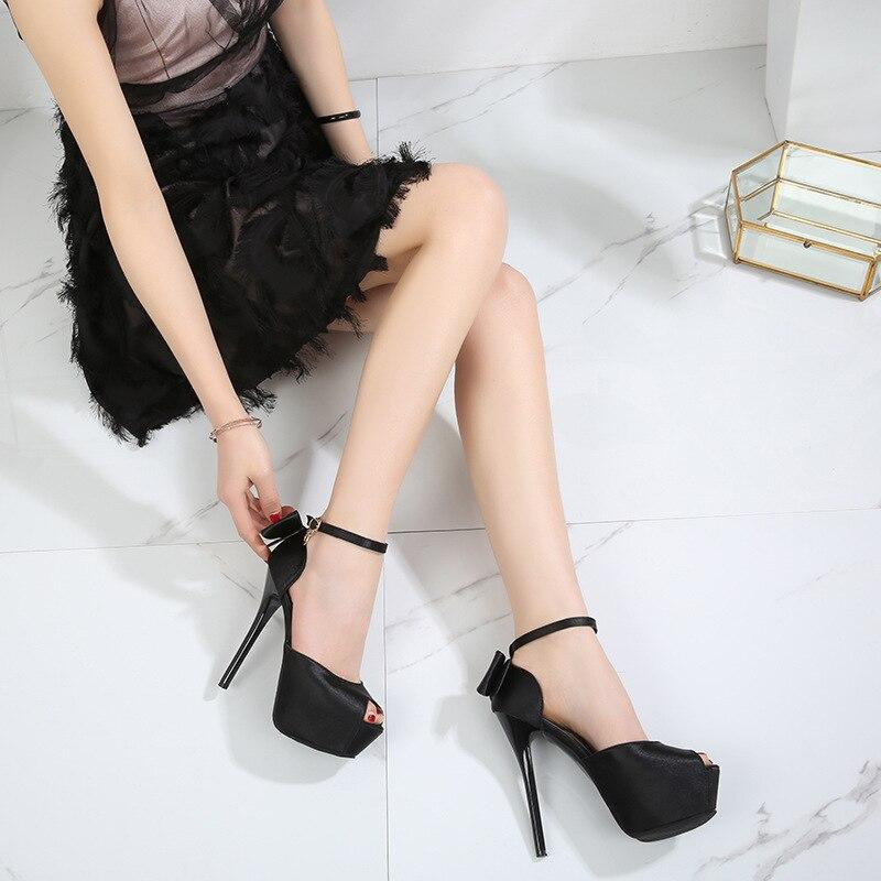 Summer Solid Sexy Pumps Women Sandals Shoes Wedding 3.8cm-4.5cm Platform Silk Buckle Strap Super High Heels Party Female Shoes 2