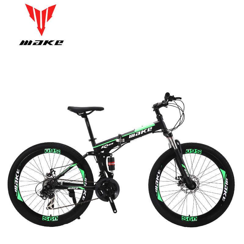 Hacer marco plegable de acero, bicicleta de montaña 26 ruedas, 24 velocidades SHIMANO MTB