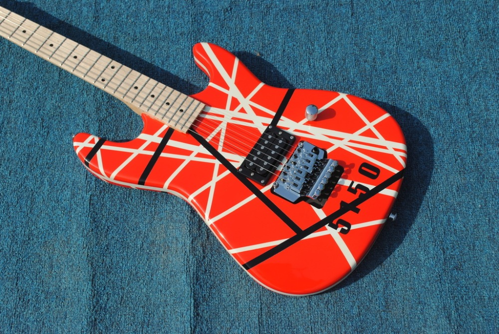 85189c3c804 2019 New + Factory + Kram EVH 5150 electric guitar Eddie Van Halen Kram  5150 guitar free shipping Red color 5150 striped guitar-in Guitar from  Sports ...