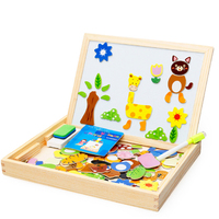 Multifunction Children Animal Wooden Puzzle Writing Magnetic Drawing Board Blackboard Fantastic Easel Learning & Education Toys
