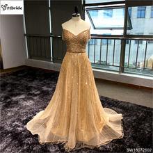 Pokonać wykonane Off the Shoulder krótkie rękawy szampana długa suknia wieczorowa 2017 vestidos de festa vestido longo para casamento