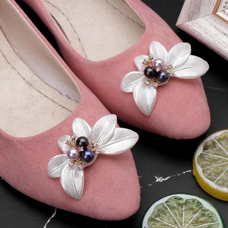 2pcs Shoe Decoration Floral Colorful Faux Pearl Ornament Clothes Charms Shoes Supply Rhinestone Appliques faux pearl