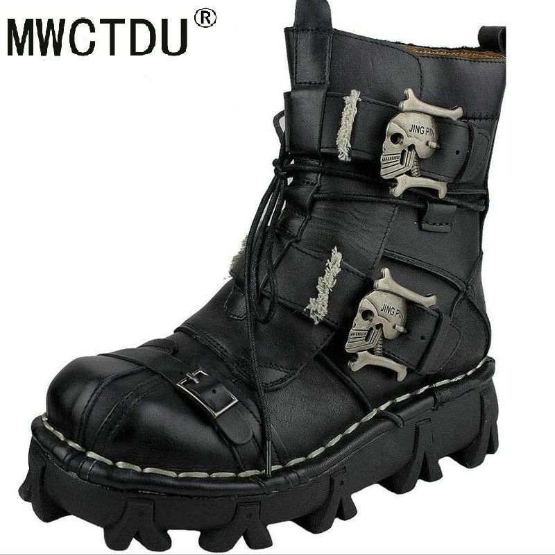 MWCTDU Skull-Boots Martins-Shoes Oxfords Fashion Mens Ankle Metal Skeleton Warm Man