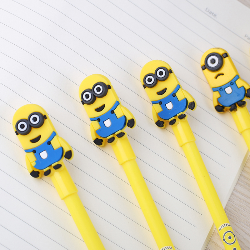 4X Cute Kawaii Minions Gel Pen Writing Signing Pen Korean Student Stationery Creative Gift School Office Supply creative business gift holiday gift pen writing pen gorgeous high end gift signature pen cute lady writing pen