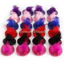 24pcs/Lot Stylish Girls Mini Hair Clip Feather Rose Tiaras Party Ball Stage Show Top Hat Women Fascinator Hair Accessories
