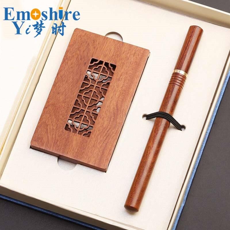 Stylo à bille et boîte à cartes ensemble stylo à bille en bois créatif porte-carte cadeaux de bureau d'affaires personnalisé P388