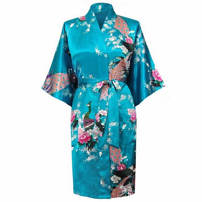 Blue Bride Bridesmaid Wedding Robes Chinese Lady Rayon Nightwear Sexy Femmes Kimono Bath Gown Pajamas S M L XL XXL XXXL A-015