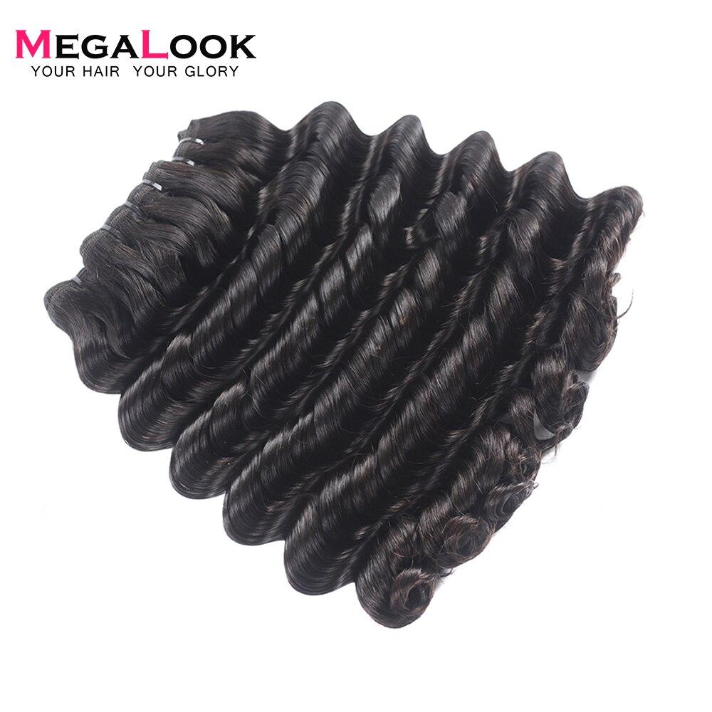 Megalook 3 pcs/lot paquets de vague profonde brésilien Double tiré vierge paquets de cheveux non transformés armure 100% Extension de cheveux humains - 5