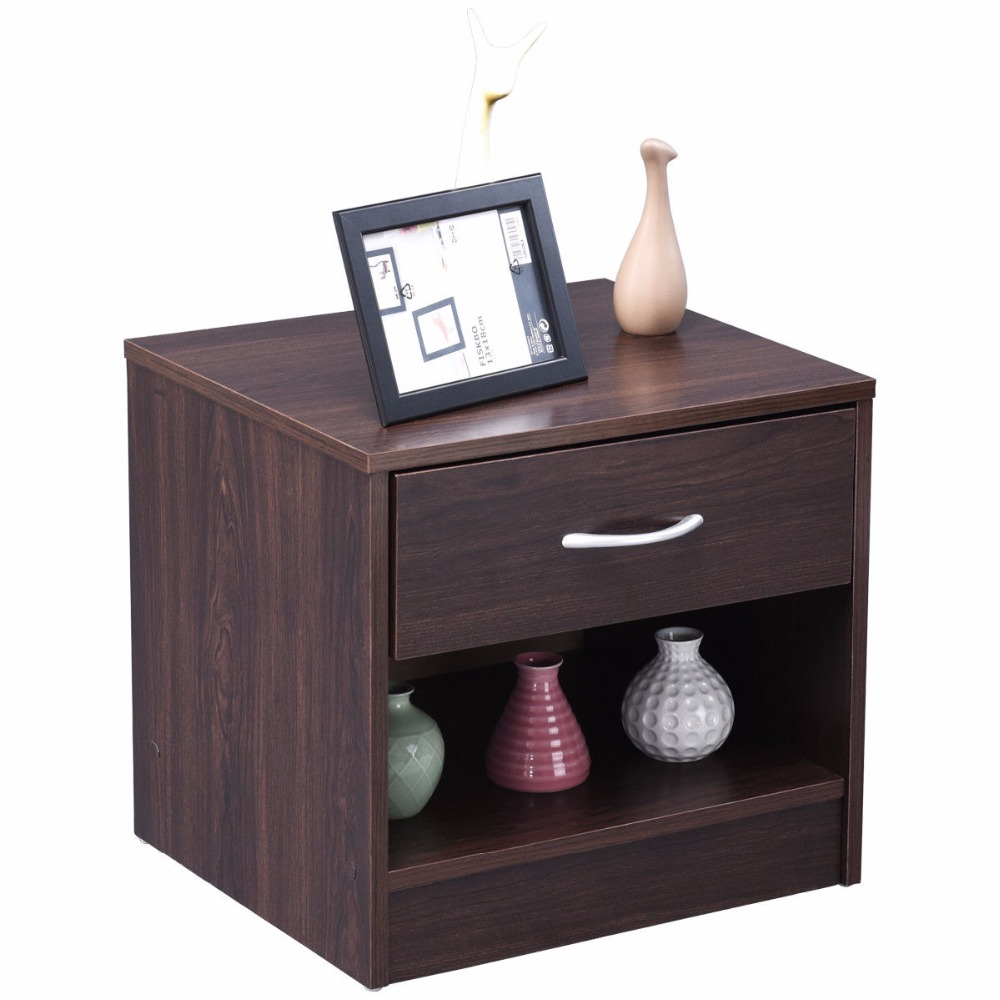 Giantex Nightstand End Table Modern Wood Storage Display Cabinet Bedroom Furniture with Drawer Shelf HW54817NA стоимость