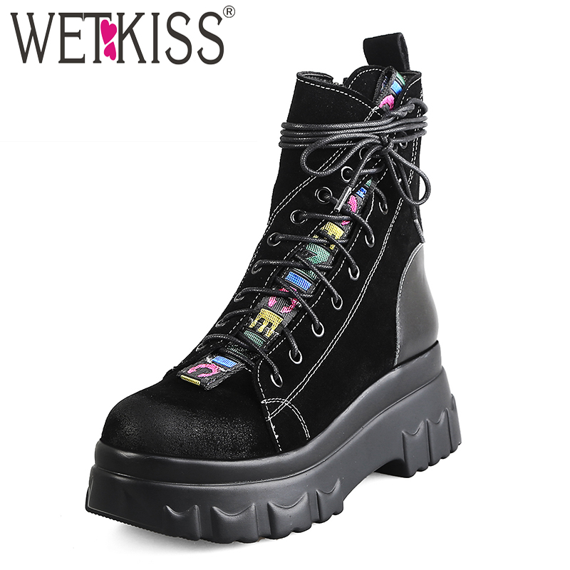 WETKISS Cow Suede Women Ankle Boots Cross Round Toe Cross Tied Footwear Platform Female Boot Punk Shoes Woman 2018 Black WinterWETKISS Cow Suede Women Ankle Boots Cross Round Toe Cross Tied Footwear Platform Female Boot Punk Shoes Woman 2018 Black Winter