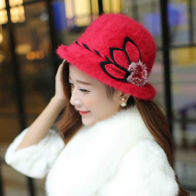 Elegante mode winter fedora hoed voor vrouwen Konijnenhaar bont warm - Kledingaccessoires