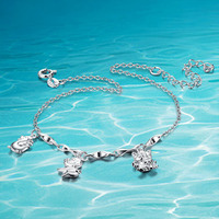 Hot sale!!! 925 women sterling silver anklets;silver charm anklets;Popular jewelry;Joker fashion;High quality
