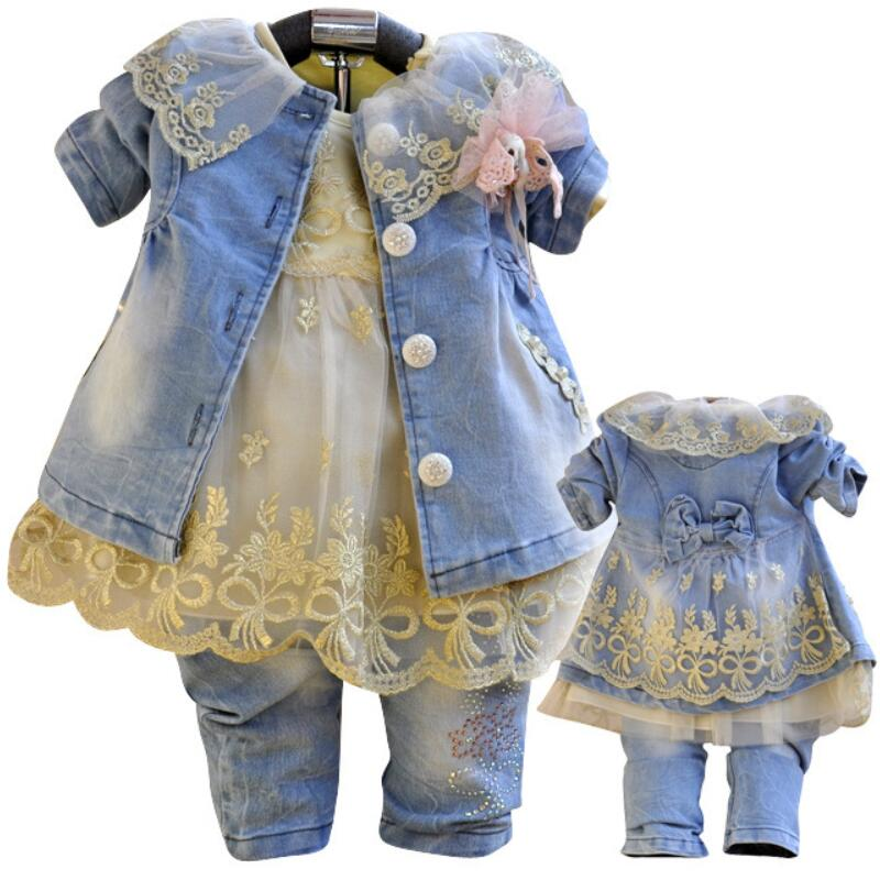 Anlencool Free shipping 2017 baby dress set high class quality denim girls clothing The Girl Cowboy three piece suit and skirt children s clothing spring high quality cowboy three piece suit of the girls flowers fashion baby suit denim set for infants