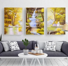 Modern Pastoral Oil Canvas Painting Birds Elk Landscape Modular Posters and Prints Nordic Decoration Home Art Wall Pictures